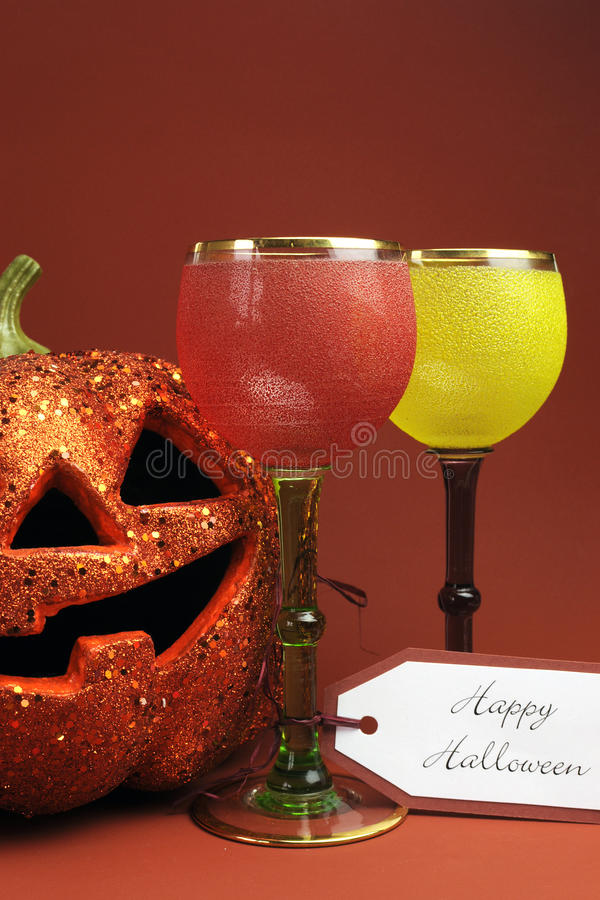 Halloween drinks with vintage gothic style goblets - vertical.