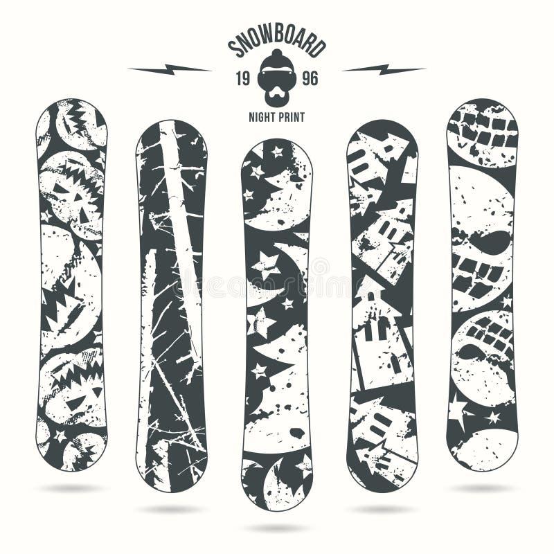 Halloween-druk voor snowboard vector illustratie