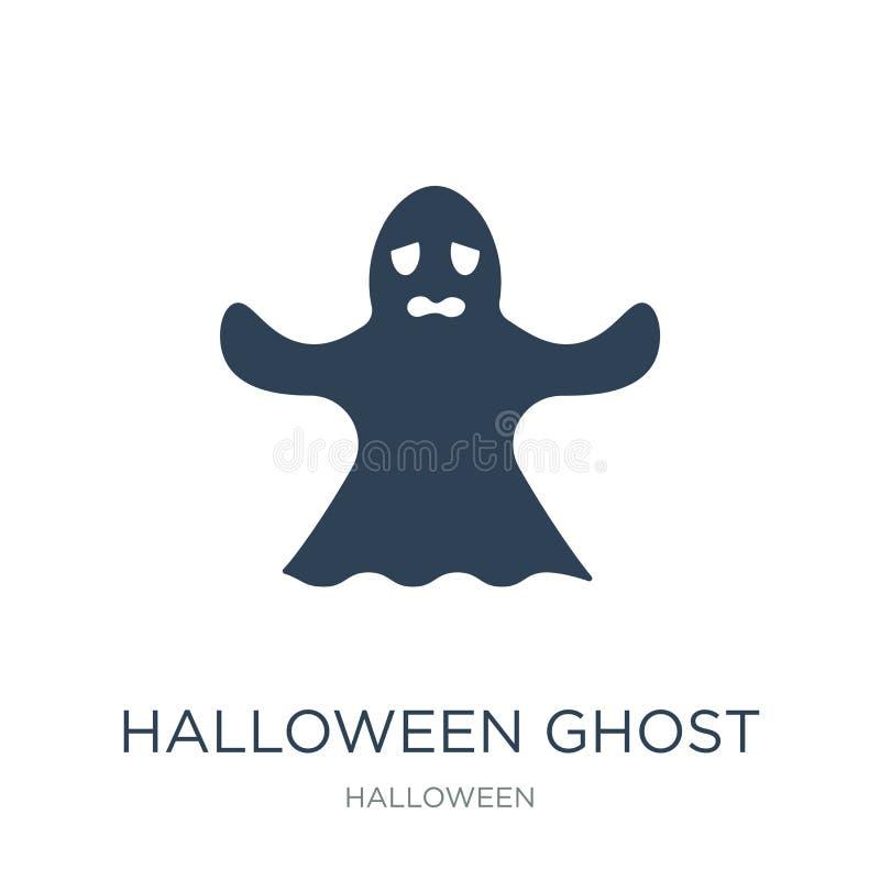 halloween ducha ikona w modnym projekta stylu halloween ducha ikona odizolowywająca na białym tle halloween ducha wektorowa ikona royalty ilustracja