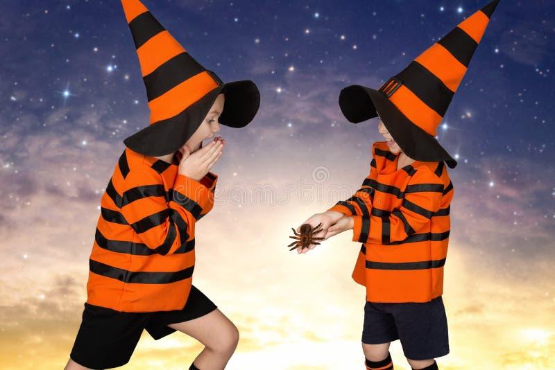 halloween Dwa brata w kostiumowym odprowadzeniu przy nocą Straszy each inny z strasznymi pająkami fotografia royalty free
