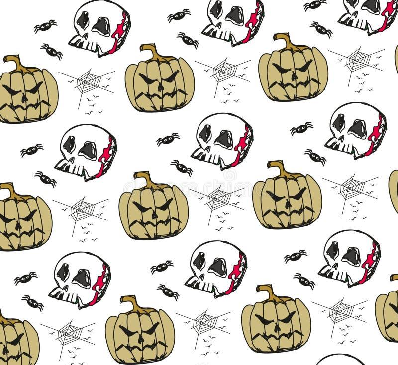 Halloween Dynia, pająki i czaszki ilustracja wektor