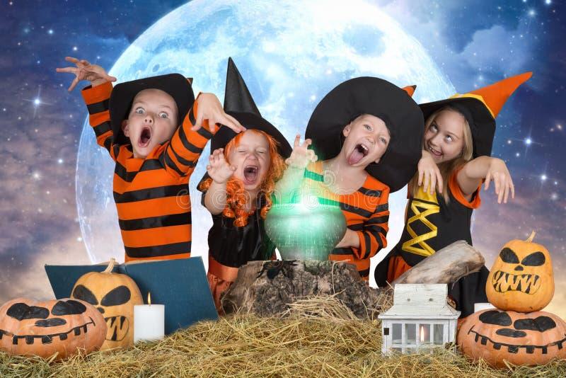 halloween Dzieci czarownicy i czarownicy gotuje napój miłosnego w kotle z banią i czary książką fotografia royalty free