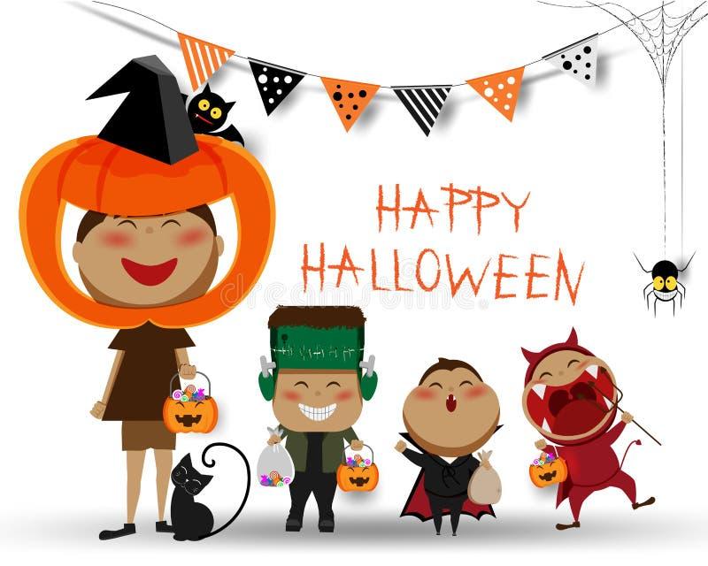 Halloween dzieci trikowy, funda partyjny szczęśliwy partyjny dekoraci tło lub, ilustracji