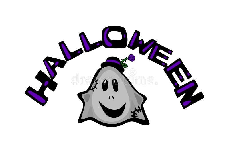 Halloween e fantasma Avatar comico di colore del fumetto illustrazione vettoriale