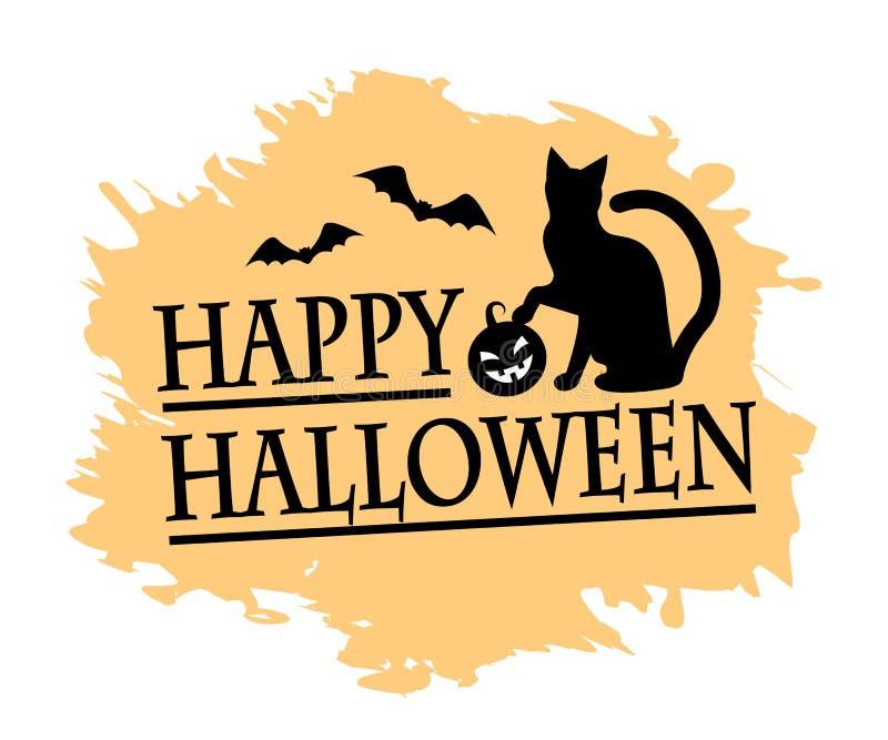 Halloween e gatto nero illustrazione di stock