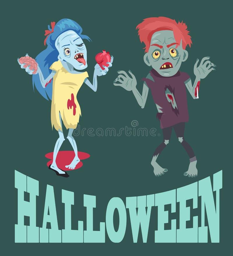 Halloween ed illustrazione di vettore di immagini degli zombie illustrazione vettoriale