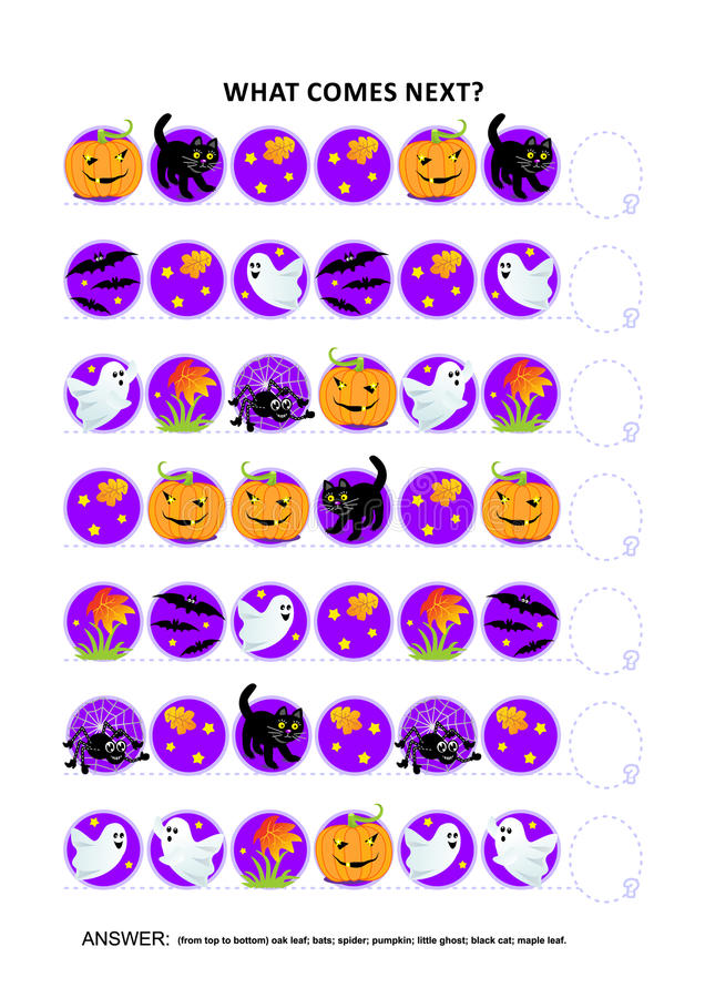 Halloween educational logic game - sequential pattern recognition stock illustration