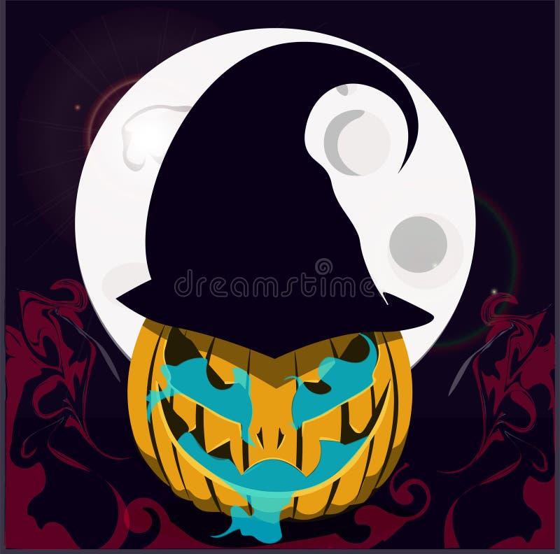 Halloween Ein Kürbis Hexen-Kürbis stock abbildung