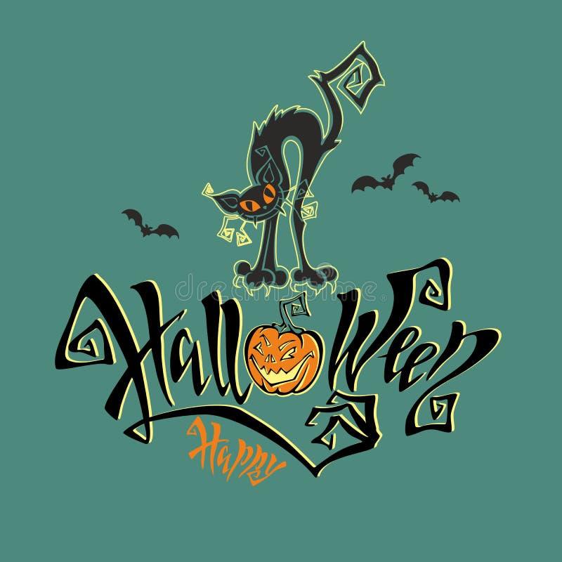 Halloween Eine Spaßkarte für allen Heilige ` Tag Magische magische Beschriftung Lustiges Monster der schwarzen Katze der Karikatu lizenzfreie abbildung