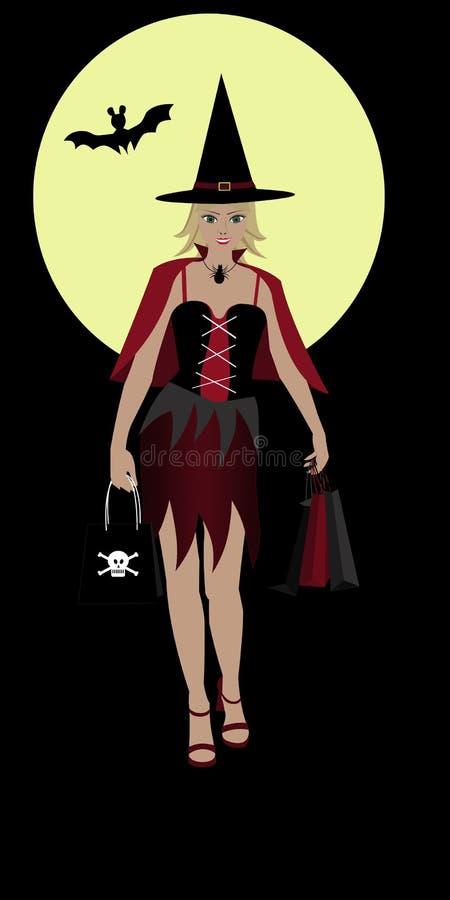 Halloween-Einkaufenhexemädchen stockbild