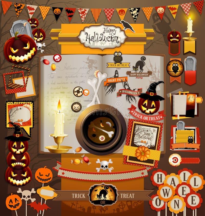 Halloween-Einklebebuchelemente vektor abbildung