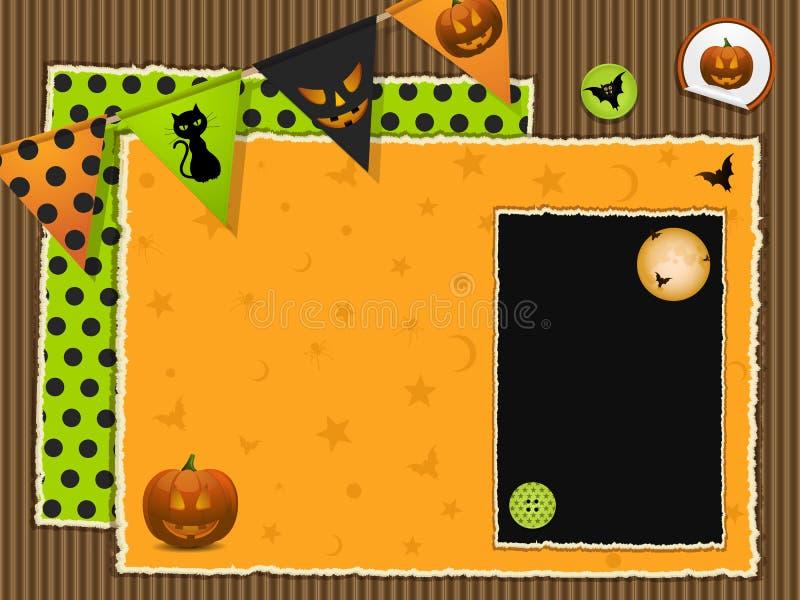 Halloween-Einklebebuchhintergrund stock abbildung