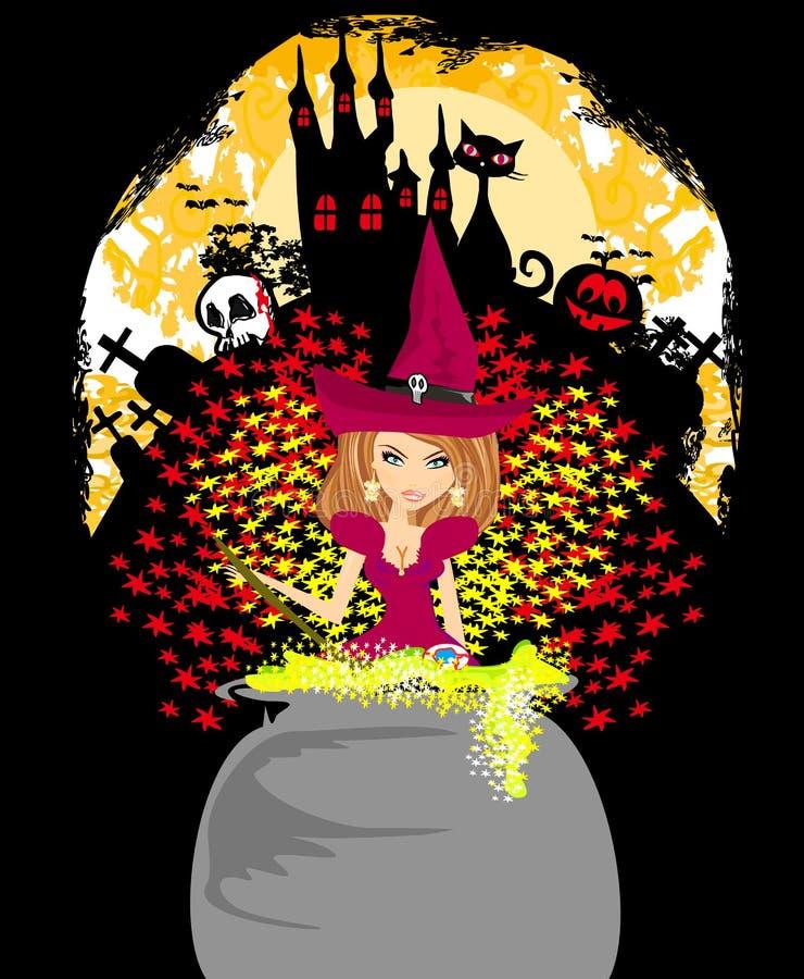 Halloween-Einladung - Hexe, frequentiertes Schloss, Schädel lizenzfreie abbildung