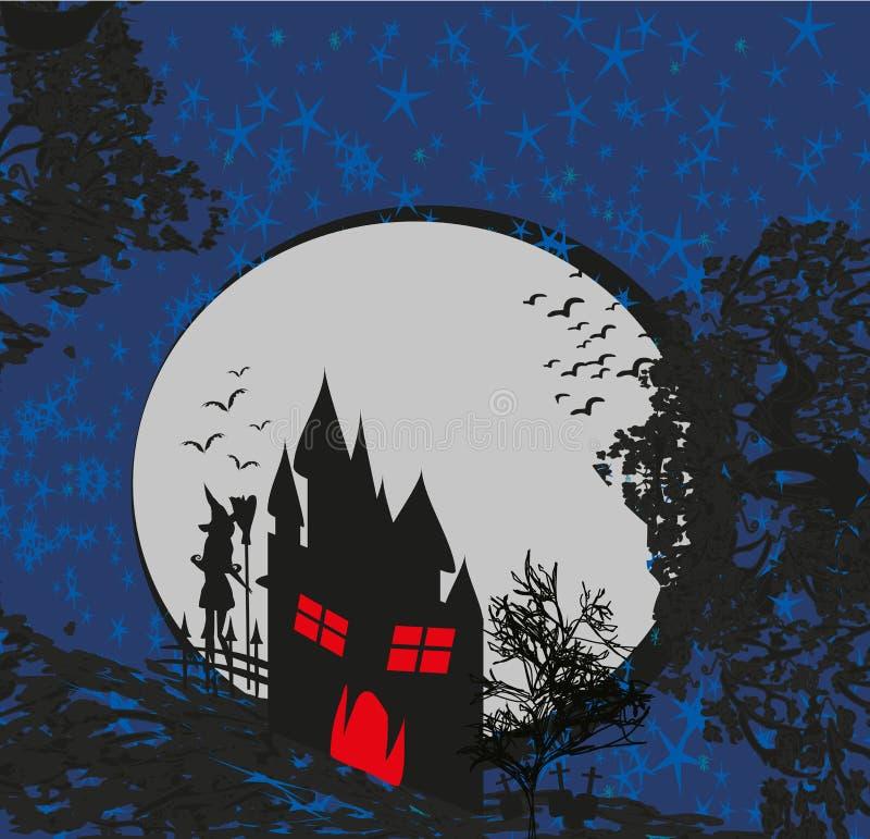 Halloween-Einladung mit Geisterhaus und Hexe lizenzfreie abbildung