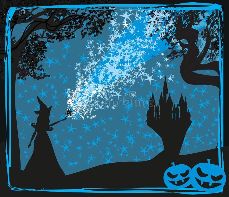 Halloween-Einladung mit Hexe lizenzfreie abbildung