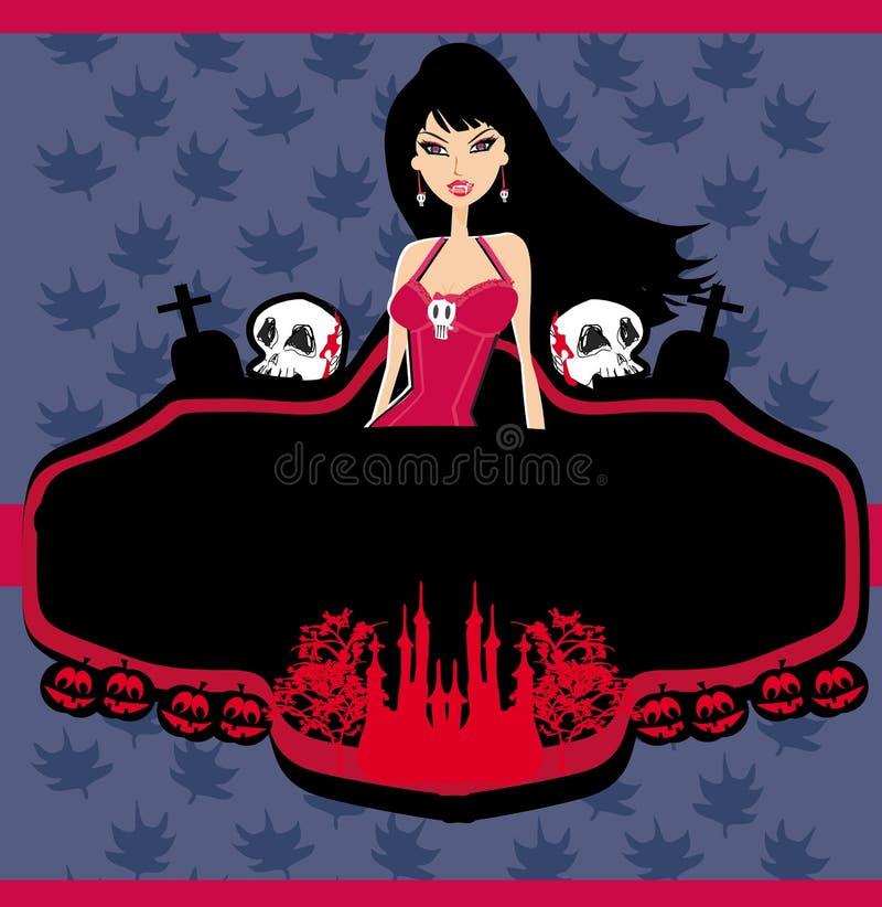 Halloween-Einladung mit schönem weiblichem vampi stock abbildung