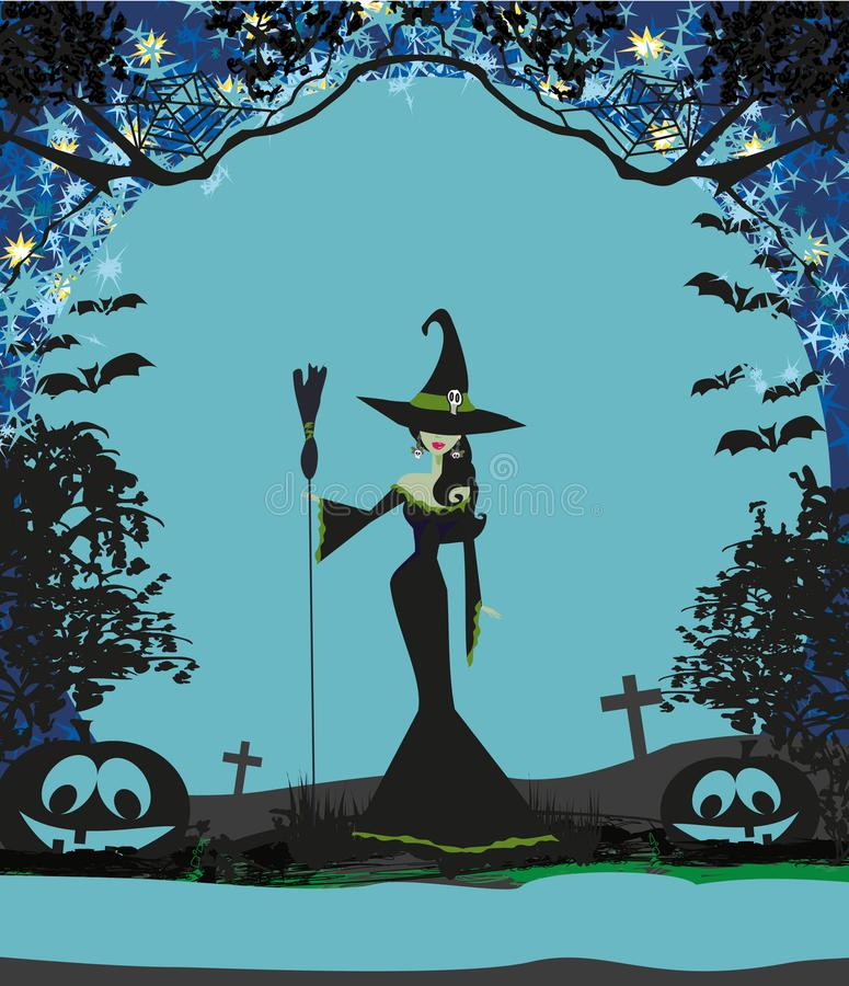 Halloween-Einladung mit schöner Hexe lizenzfreie abbildung
