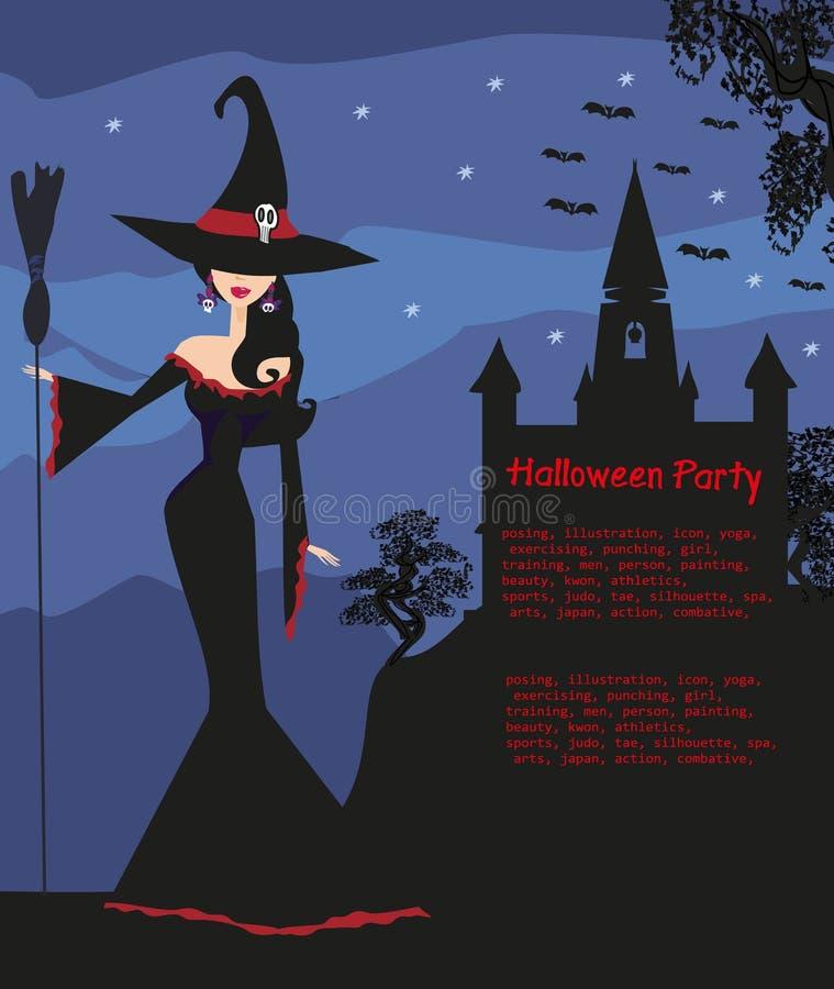 Halloween-Einladung mit schöner Hexe vektor abbildung