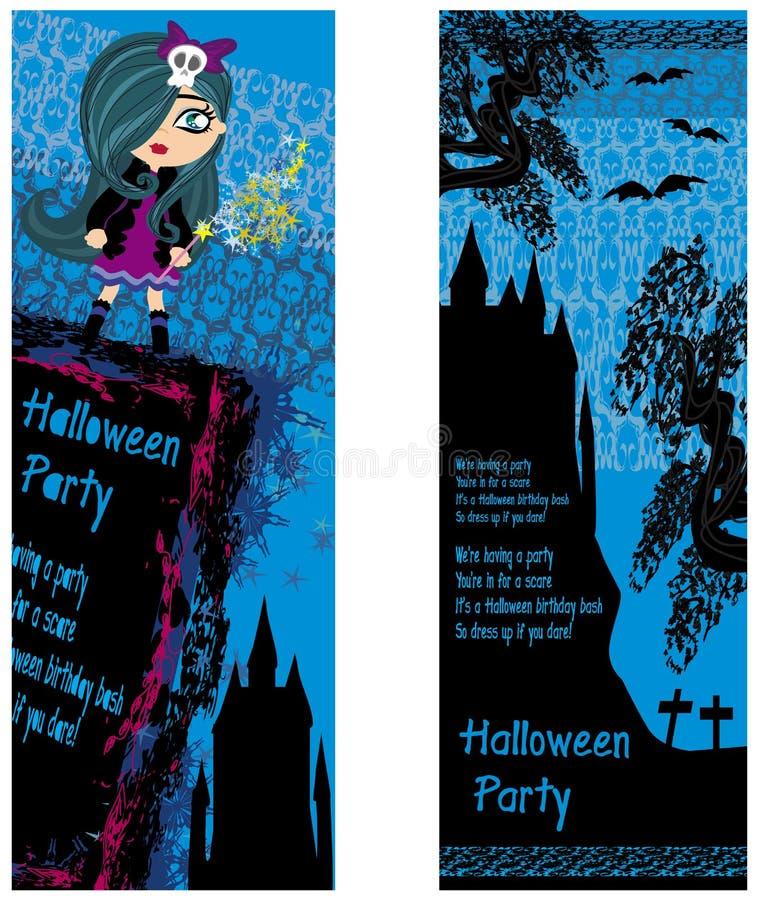 Halloween-Einladung mit schöner Hexe und gruseligem Schloss stock abbildung