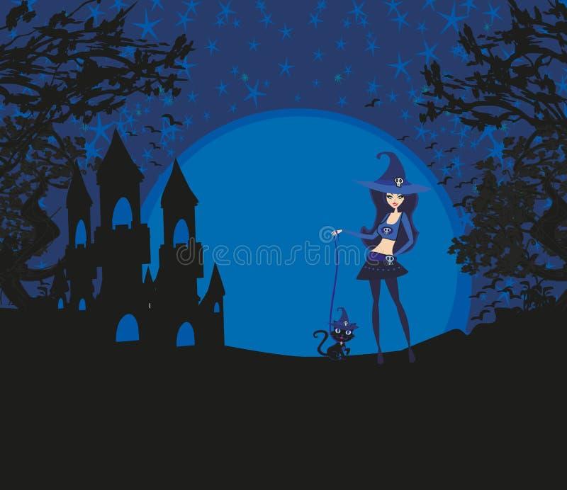 Halloween-Einladung mit schöner Hexe und gruseligem Schloss lizenzfreie abbildung