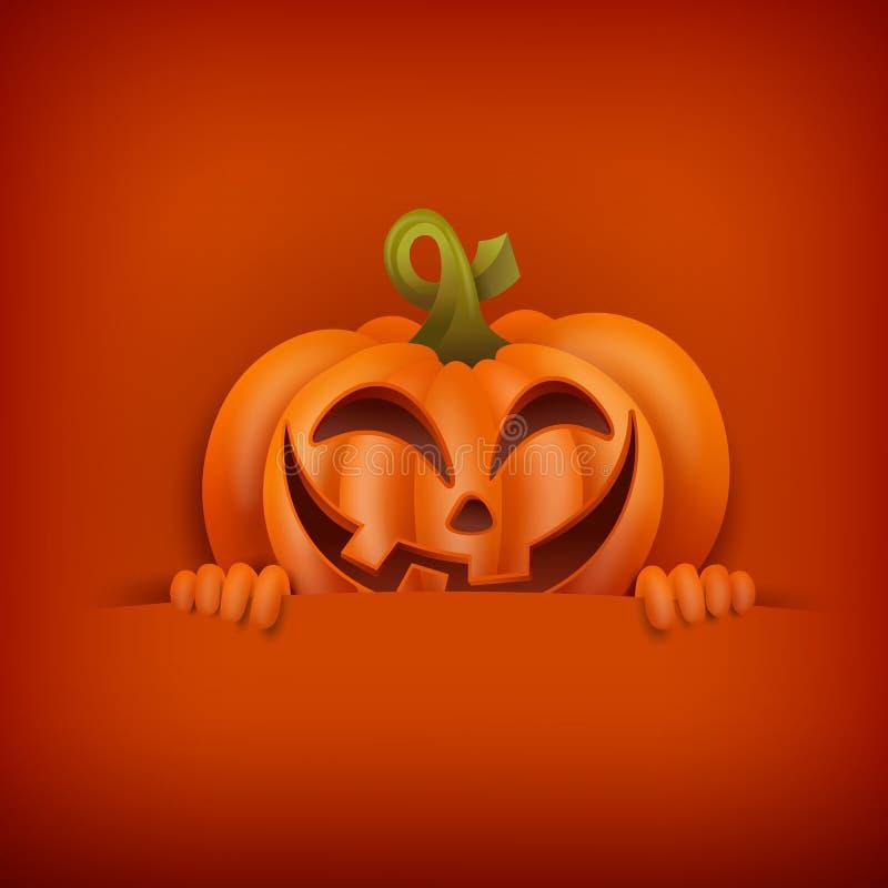 Halloween-Einladungskartenschablone mit smileykürbis vektor abbildung