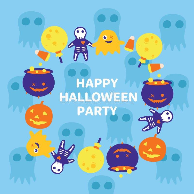 Halloween-Einladungsparteikarte mit quadratischem Rahmen von der Charakterpersönlichkeit und -text stock abbildung