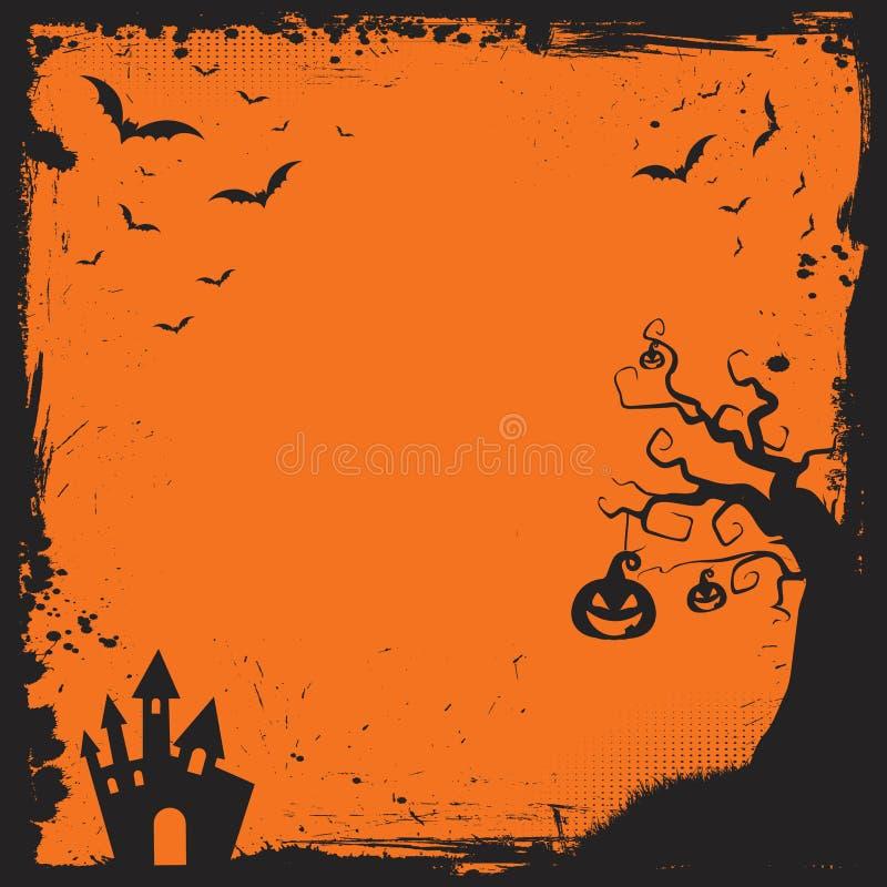 Halloween-Element mit Grenz- und Hintergrundschablone lizenzfreie abbildung