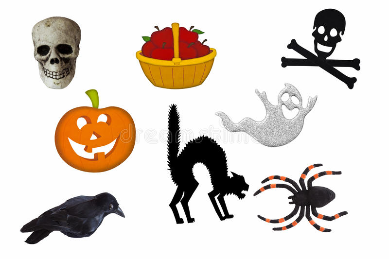 Halloween elements. Elements that symbolize Halloween isolated on a white background with skull, jack-o-lantern, skull and cross bones, ghost, black cat, raven stock images