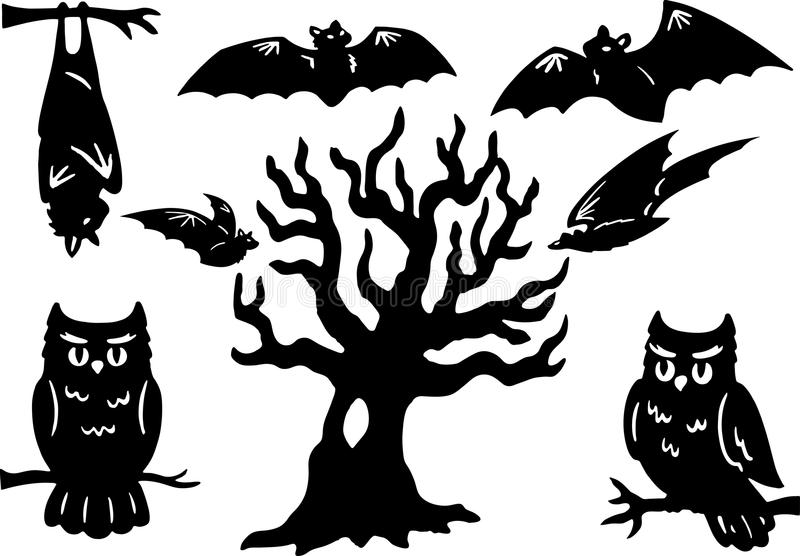 Halloween Elements. Halloween Silhouettes with owl, bats, and tree stock illustration