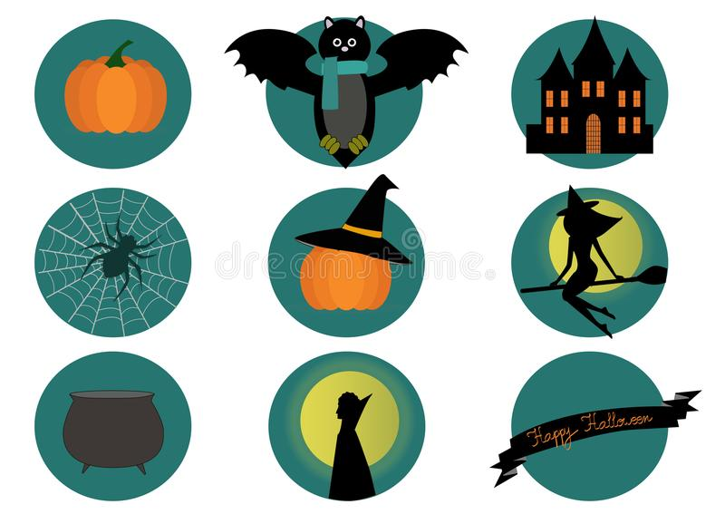 Halloween elements- bat, pumpkin, witch and spider on white background. royalty free illustration