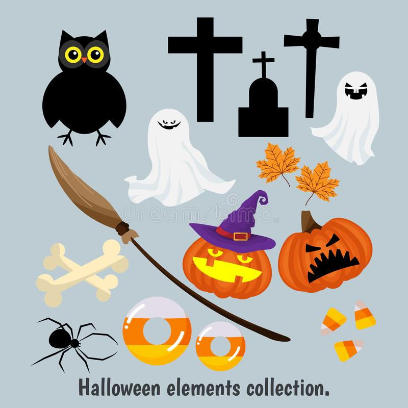 Halloween elements collection for design. Halloween elements collection for design on gray background. Vector illustration royalty free illustration