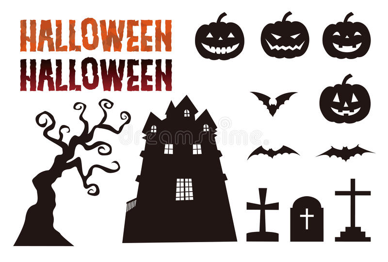 Halloween elements, jack o lantern, bat, grave and haunted mansion royalty free illustration