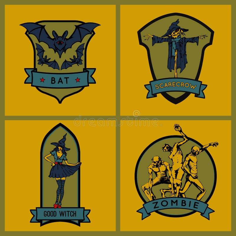Halloween emblems. Set. Vector emblems royalty free illustration