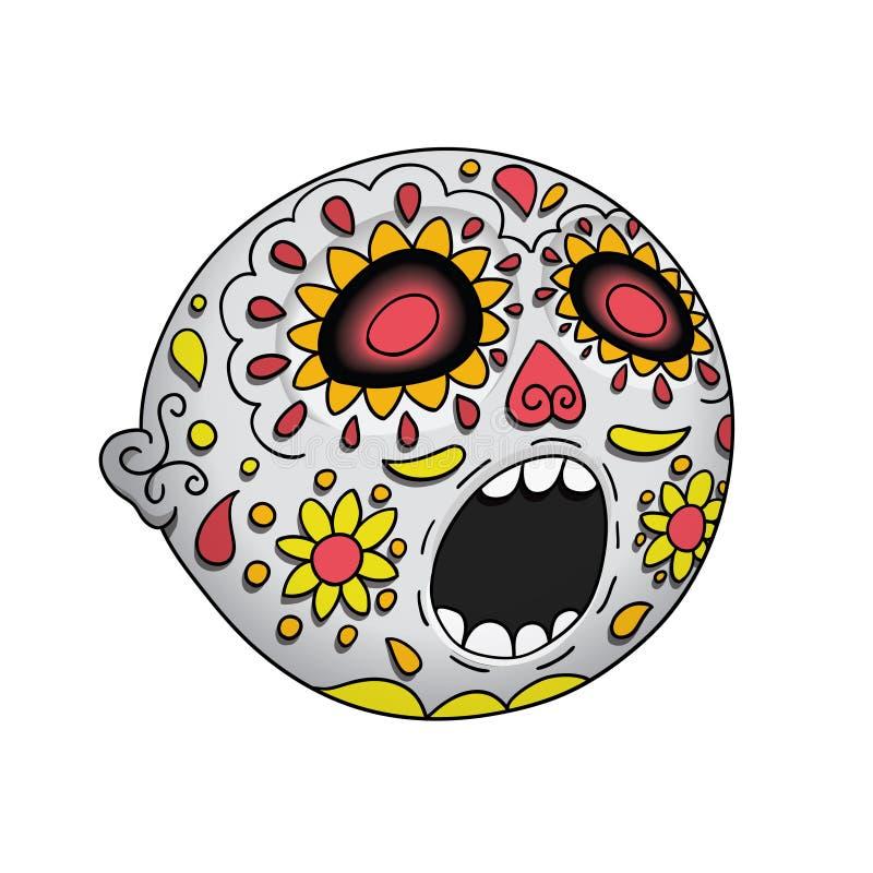 Halloween Emoji surpreendeu Dia dos mortos Diâmetro De Los Muertos Ilustração do vetor ilustração do vetor