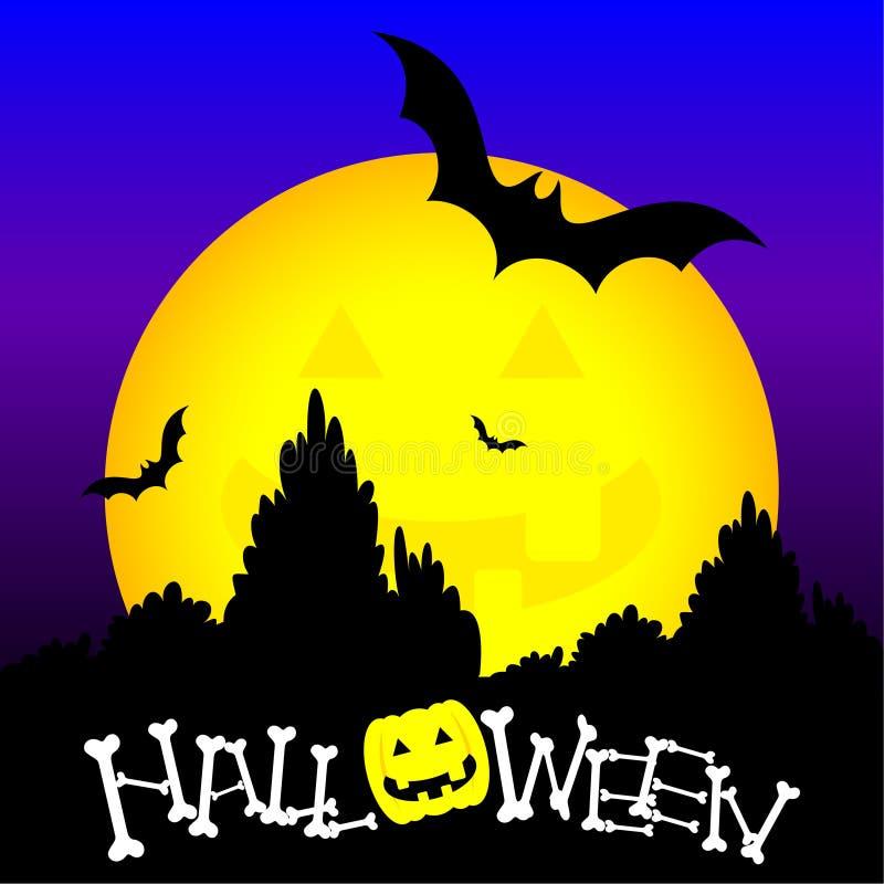 Halloween en gele maan stock illustratie