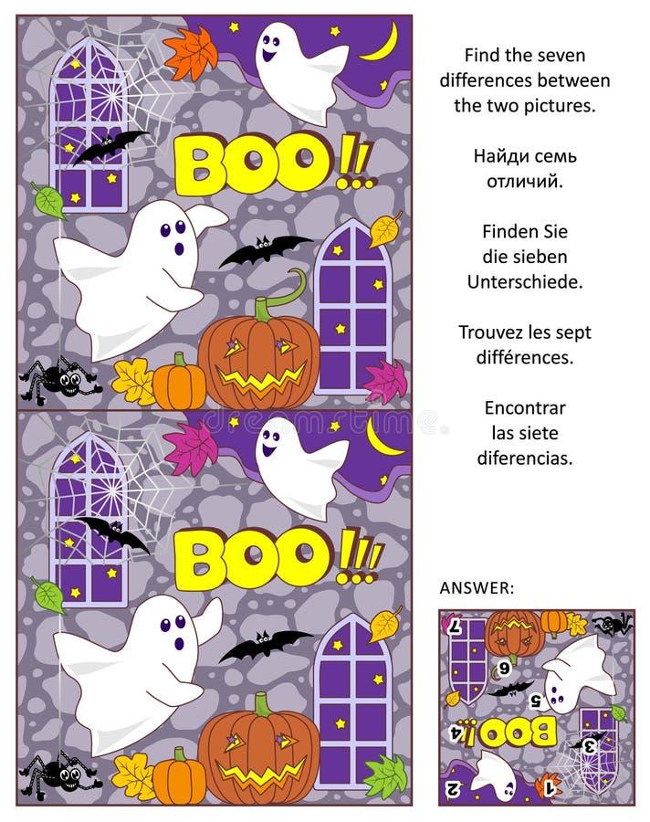 Halloween encuentra el rompecabezas de la imagen de las diferencias con dos pequeños fantasmas stock de ilustración