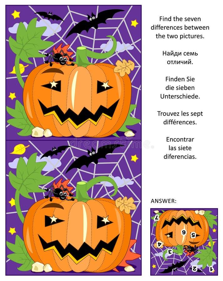 Halloween encuentra el rompecabezas de la imagen de las diferencias con la calabaza, los palos y la araña ilustración del vector