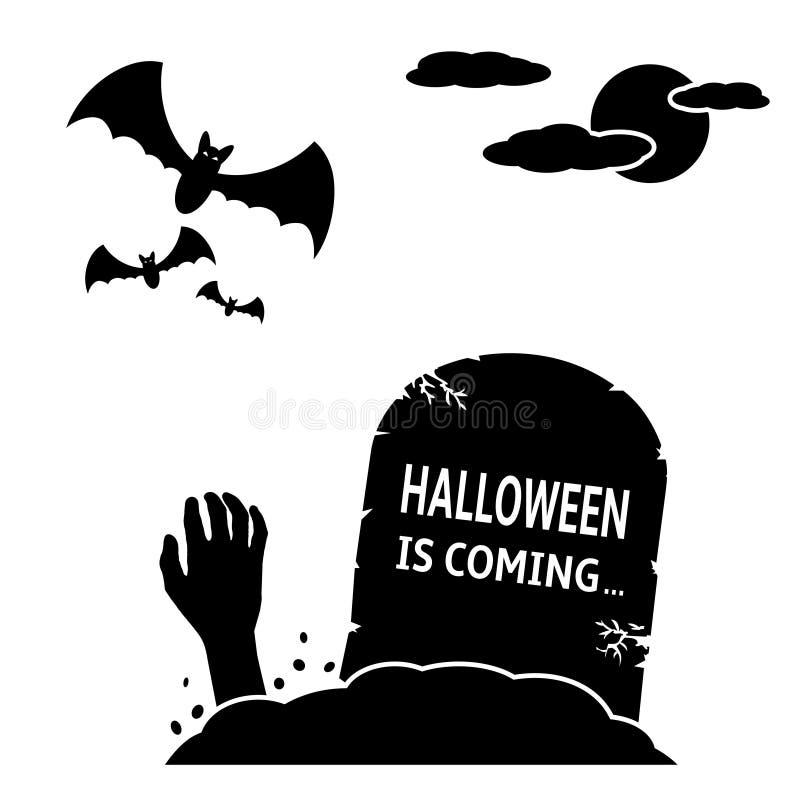 Halloween est prochain concept Pierre tombale avec la main et les battes de zombi illustration de vecteur