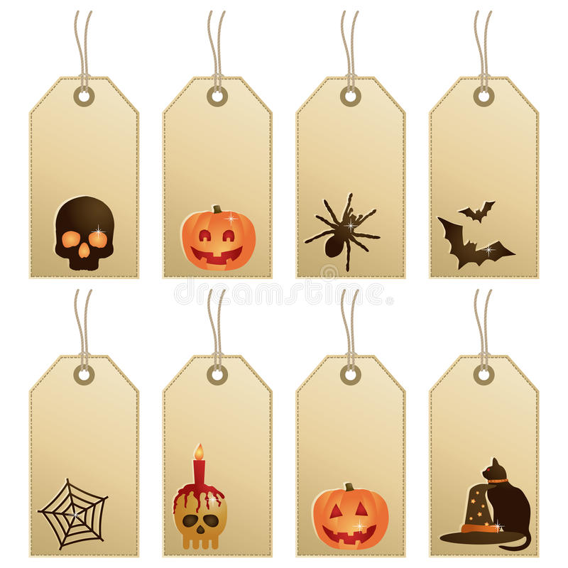 halloween etiketter stock illustrationer