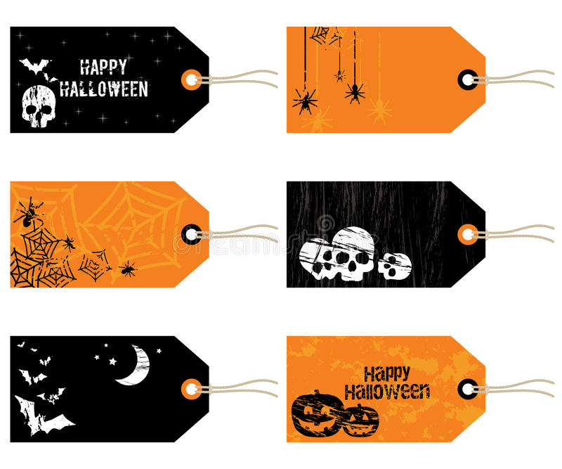 Halloween etiketter vektor illustrationer