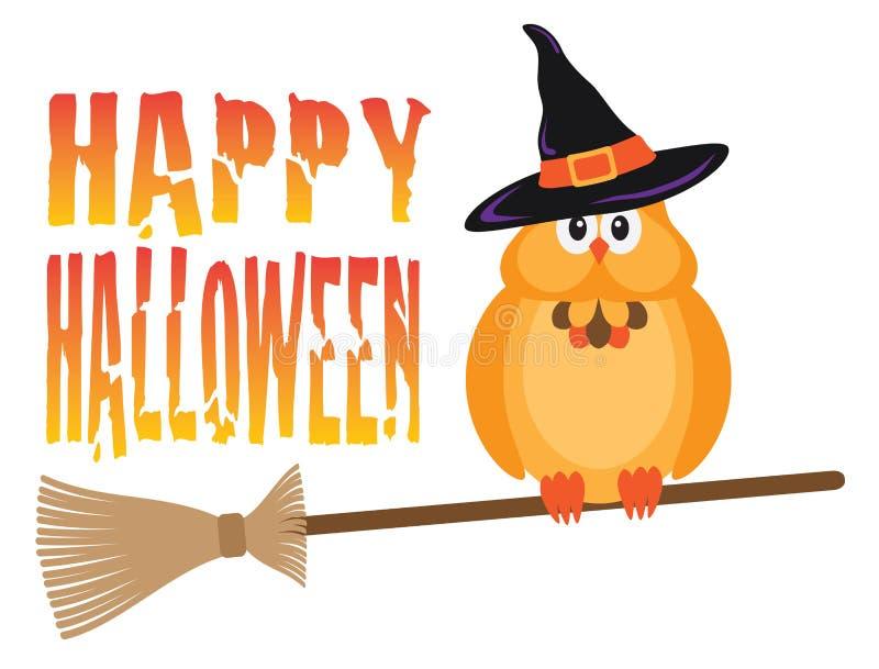 Halloween-Eule auf Besenstiel-Vektor-Illustration lizenzfreie abbildung
