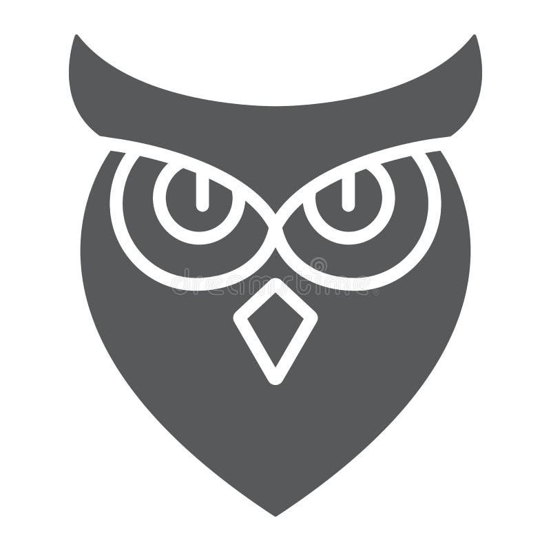Halloween-Eule Glyphikone, Tier und Klugheit, Vogelzeichen, Vektorgrafik, ein festes Muster auf einem weißen Hintergrund vektor abbildung