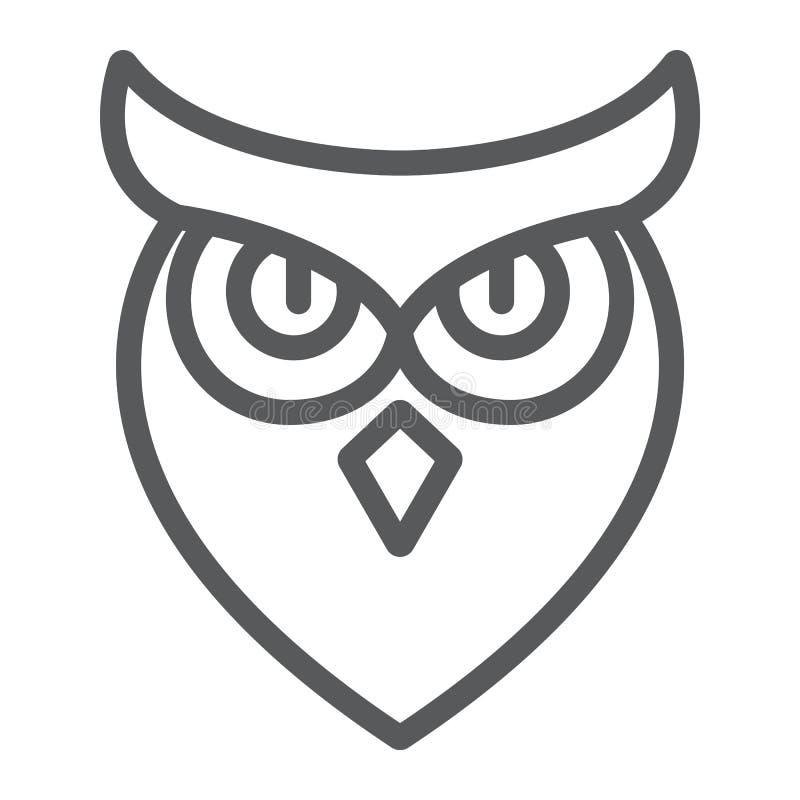Halloween-Eulenlinie Ikone, Tier und Klugheit, Vogelzeichen, Vektorgrafik, ein lineares Muster auf einem weißen Hintergrund lizenzfreie abbildung