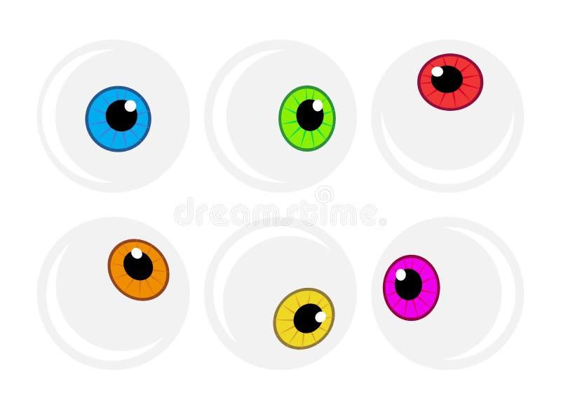 Halloween eyeball vector symbol set. Colorful cartoon clipart pupil, eye illustration on white background. Halloween eyeball vector symbol set. Colorful cartoon royalty free illustration