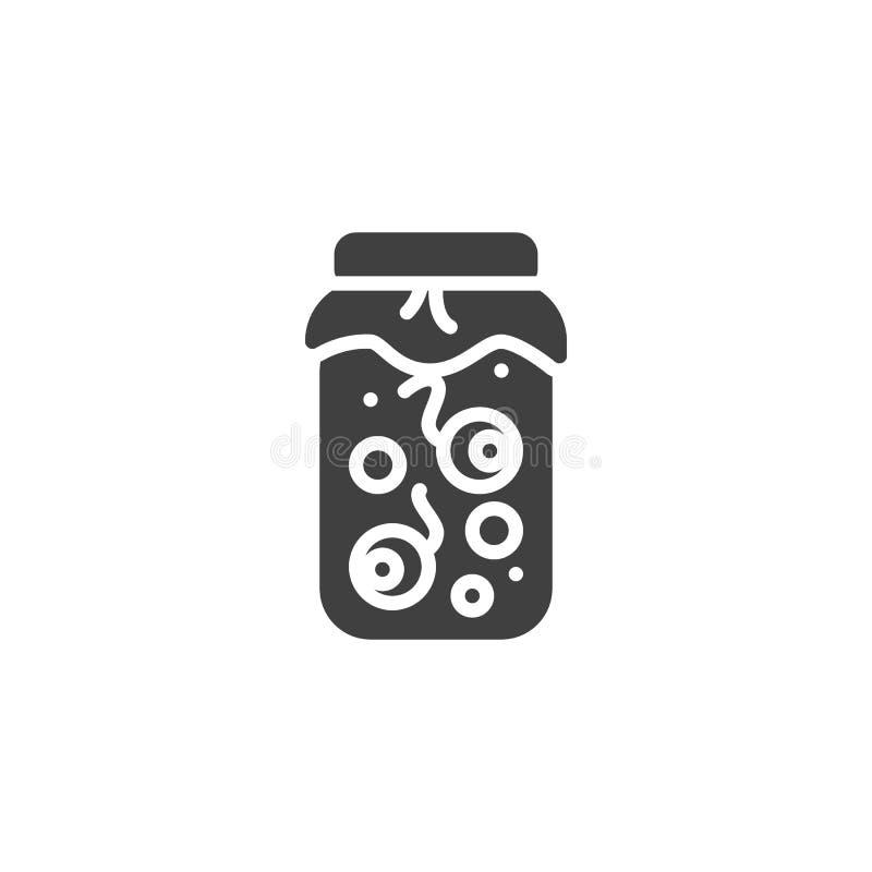 Halloween eyeballs jar vector icon. Filled flat sign for mobile concept and web design. Human eyeballs in glass jar glyph icon. Symbol, logo illustration stock illustration