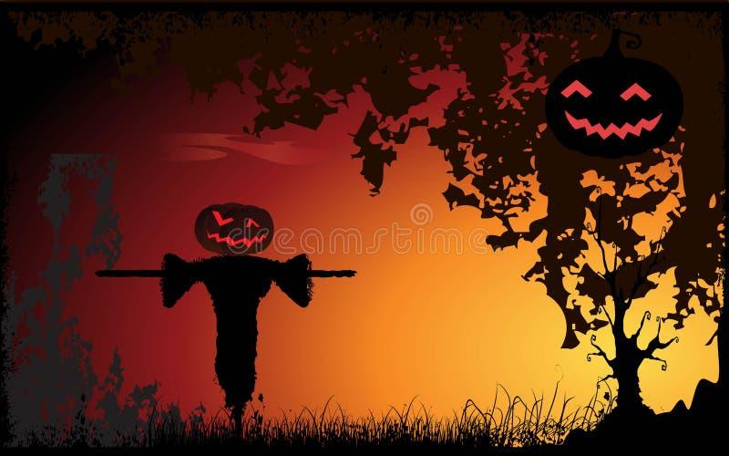 Halloween fällt? Kürbis, den Hauptvogelscheuche erwartet vektor abbildung