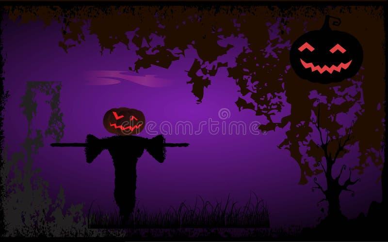 Halloween fällt? Kürbis, den Hauptvogelscheuche erwartet stock abbildung