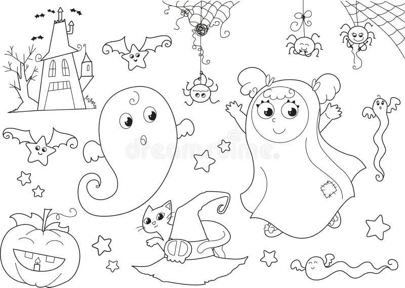 Halloween färgläggning som ställs in för lilla ungar stock illustrationer