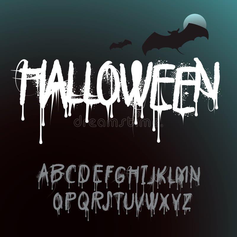 Halloween färgstänkalfabet vektor illustrationer