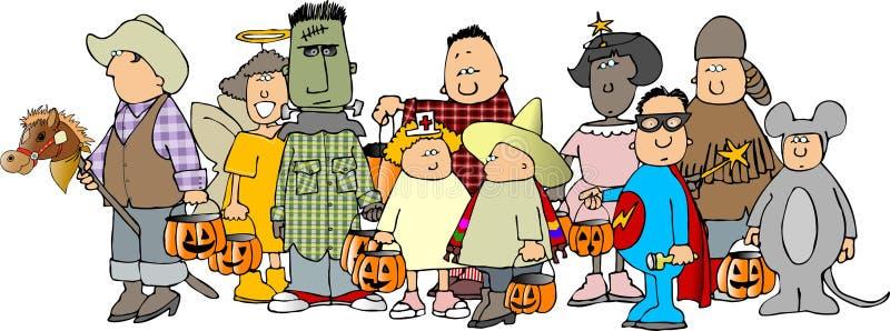 halloween för 2 grupp ungar vektor illustrationer